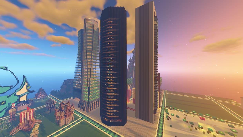 Parque empresarial de Madrid en Minecraft