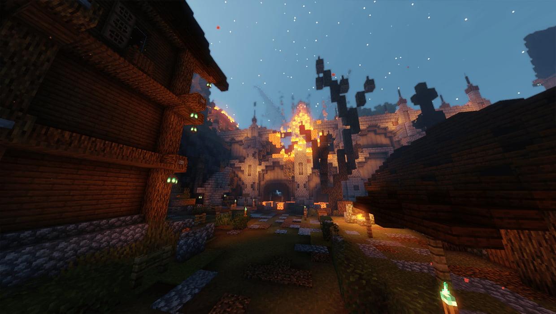 puente y muro ardiendo servidor supervivencia minecraft